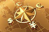 image of yen  - Money concept with symbols of Dollar Euro Pound and Yen - JPG