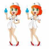 picture of enema  - Illustration nurse holds in hand enema and smiles - JPG