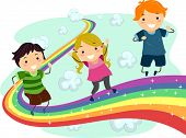 pic of playmate  - Illustration of Little Kids enjoying their walk on a Rainbow - JPG