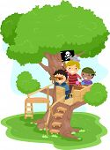 stock photo of raider  - Illustration of Little Boys playing as Pirates on a Tree - JPG