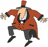 picture of sneaky  - This illustration depicts a circus ringmaster trying to be sneaky - JPG