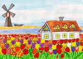 House With Tulips (house In Holland), Painting