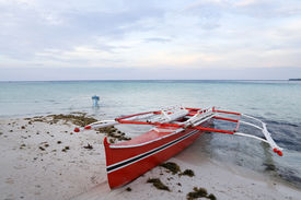 picture of camiguin  - outrigger banka boats on the beach camiguin island mindanao the philippines - JPG