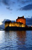 Eilean Donan Castle at dusk, Scotland, United Kingdom
