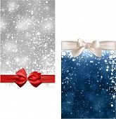 Winter abstract banners. Christmas background with snowflakes and sparkles. Vector.