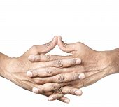 foto of mudra  - Hands in Ushas mudra by Indian man isolated at white background - JPG