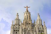picture of sacred heart jesus  - Church of the Sacred Heart of Jesus on summit of Mount Tibidabo in Barcelona Catalonia Spain - JPG