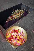 image of crematory  - A coffin in a morgue with a flower arrangement  - JPG