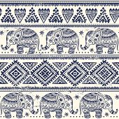 picture of indian elephant  - Ethnic elephant seamless pattern can be used as a greeting card - JPG