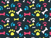 foto of hound dog  - Cool pet background with dog paw prints and bones - JPG