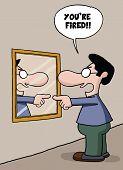 stock photo of self-employment  - Cartoon of a self employed man sacking himself on the mirror - JPG
