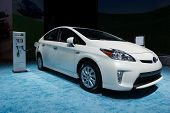LOS ANGELES, CA - NOVEMBER 20: A Toyota Prius Plug-In on exhibit at the Los Angeles Auto Show in Los