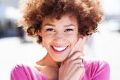 picture of african american hair styles  - Attractive African American woman outdoors - JPG