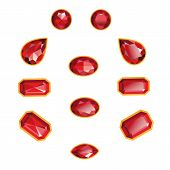 picture of octagon  - Rubies set different cut  - JPG