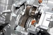 stock photo of internal combustion  - Gear train in side aluminium casing of the engine - JPG