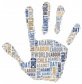 picture of labourers  - Word cloud related to World Day Against Child Labour - JPG
