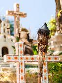 image of playa del carmen  - Traditional torches on colorful Mexican graveyard near Playa del Carmen - JPG