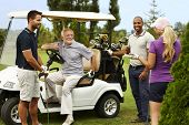 image of cart  - Happy companionship ready for golfing around golf cart - JPG