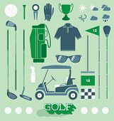 pic of golf bag  - Collection of retro style golf icons and silhouettes - JPG