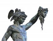 stock photo of perseus  - etail of statue of Perseus holding the head of Medusa on white background Florence Italy - JPG