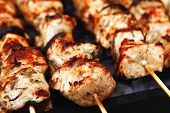 foto of barbecue grill  - healthy shish kebab  - JPG