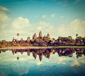picture of reflection  - Vintage retro effect filtered hipster style travel image of Cambodia landmark Angkor Wat with reflection in water - JPG