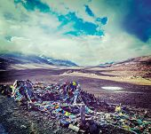 foto of manali-leh road  - Vintage retro effect filtered hipster style travel image of Buddhist prayer flags  - JPG