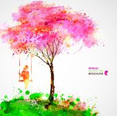 image of swing  - Spring blossoming tree - JPG