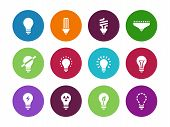 picture of fluorescent light  - Light bulb and CFL lamp circle icons on white background - JPG