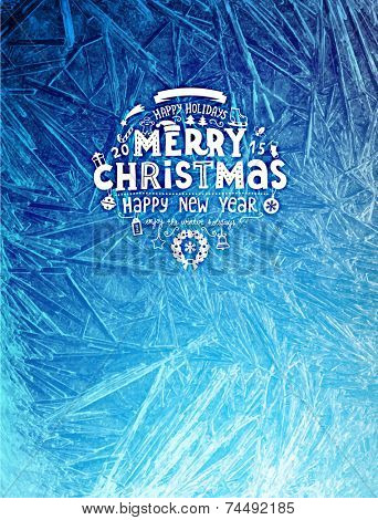 Vector Patterns Made by the Frost. Blue Winter Background for Christmas Designs. Xmas Typographic La