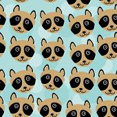 picture of cute animal face  - Raccoon Seamless pattern with funny cute animal face on a blue background - JPG
