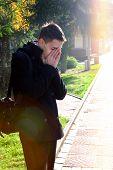 foto of sorrow  - Portrait of Sorrowful Man in the Autumn Park - JPG