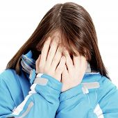 stock photo of pity  - Sad Teenage Girl crying Isolated on the White Background - JPG