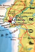 pic of atlas  - Lisbon Portugal on  a printed  atlas world map - JPG