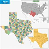image of texans  - Map of Texas state designed in illustration with the counties and the county seats - JPG