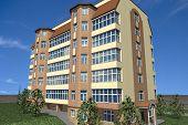 stock photo of social housing  - Multistorey building structure building social housing neighborhood - JPG