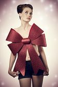 picture of adornment  - glamour christmas portrait of sexy girl with elegant hair - JPG