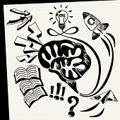 image of sketch book  - Business doodles icons Sheet of paper with lightbulb brain books arrows rocket fly top cloud in sketch style - JPG