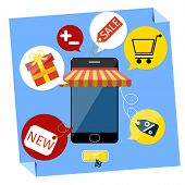 picture of awning  - Internet shopping concept smartphone with awning of buying products via on line shop store e - JPG