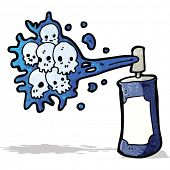 stock photo of spray can  - cartoon graffiti skull spray can - JPG