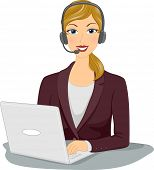 stock photo of telemarketing  - Illustration Featuring a Woman Wearing a Headset Working From Home - JPG