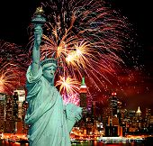 pic of new york skyline  - The Statue of Liberty and holiday fireworks - JPG