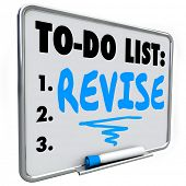 image of modifier  - Revise word written on a to do list on dry erase board to illustrate a change - JPG