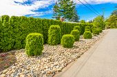 stock photo of stone house  - Flowers and stones in front of the house - JPG