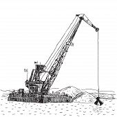 image of backhoe  - Huge crane barge Industrial ship that digs sand marine dredging digging sea bottom Sketch - JPG