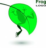 pic of tadpole  - Logo with a frog on a bright green leaf - JPG