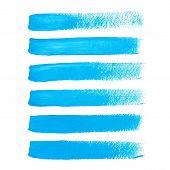 picture of stroking  - Vector illustration of Bright blue ink vector brush strokes - JPG