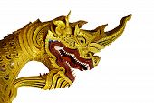 stock photo of serpent  - statue gold head serpent  on Temple stairs in Thailand - JPG