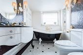 picture of exclusive  - Exclusive black and white bathroom in luxury mansion - JPG