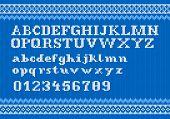 picture of knitting  - vector illustration of a white knitting alphabet on blue background - JPG